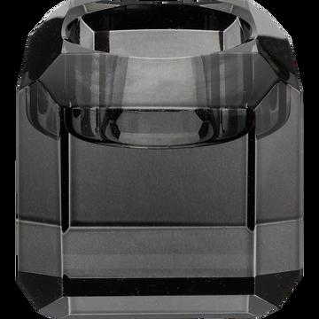 Bougeoir en verre noir D6xH6cm-ANTONIN
