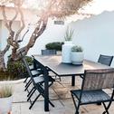 Chaise de jardin pliante gris anthracite-LEMON