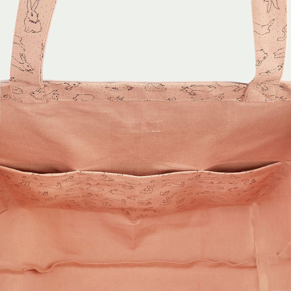 Sac cabas 42x60cm à motif bestiaire - rose rosa-Balade