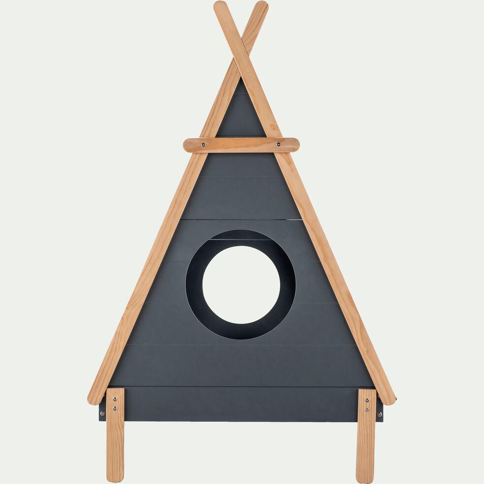 Lit forme tipi 1 place en pin massif 90x200 cm - gris restanque-TIPI