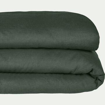 Housse de couette en lin - vert cèdre 240x220cm-VENCE