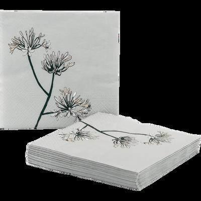 Lots de 20 serviettes en papier décoré gris borie 33x33cm-SAZE