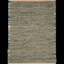tapis tressé en jute naturel et vert 160x230cm-AARON