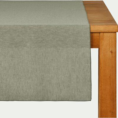 Chemin de table en lin et coton vert olivier 50x150cm-NOLA