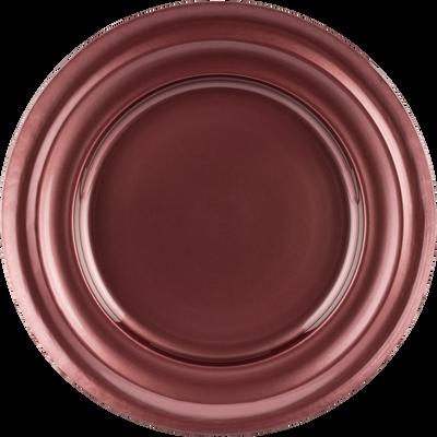 Assiette plate en verre rouge D27,5cm-LISA