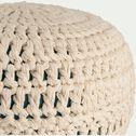 Pouf en coton tressé - naturel et bleu D40xH23cm-Leo