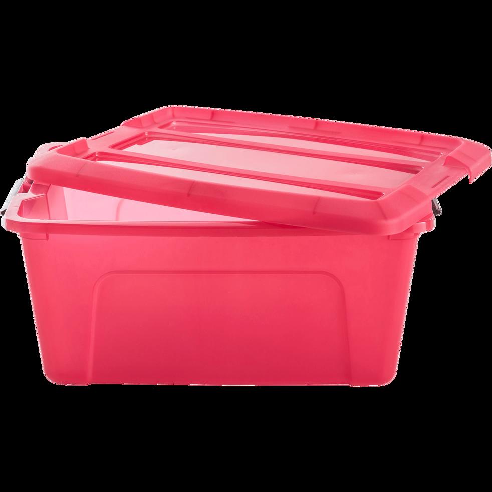 Boîte avec couvercle en plastique framboise 15L-NEW TOP