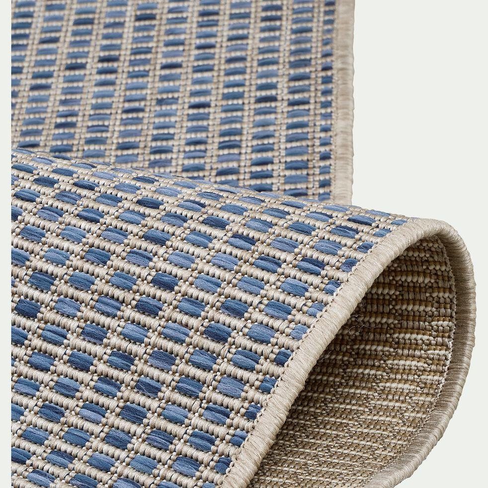 Tapis intérieur et extérieur motif nid d'abeille - bleu 60x110cm-Baudouin