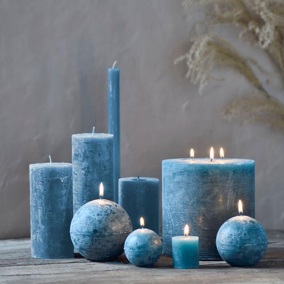 Bougie cylindrique - bleu niolon H15cm-BEJAIA