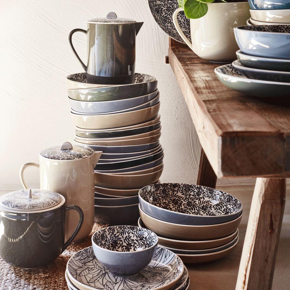 Assiette à dessert en porcelaine motifs jasmin - gris D20cm-AIX