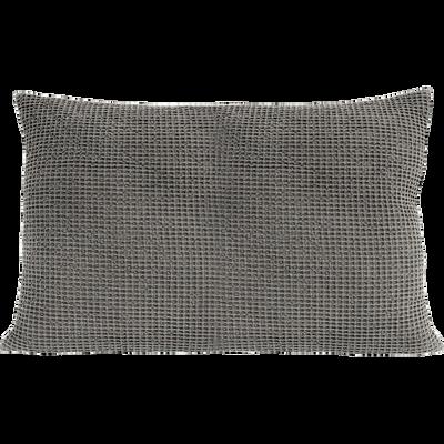 Coussin en coton gris effet nid d'abeille 40x60cm-HONEY
