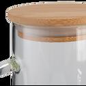 Carafe en verre et bouchon en bambou 1,1L-ADIJAN