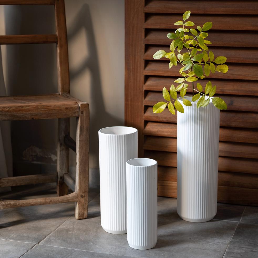 Vase en céramique blanc D13xH35cm-RETA