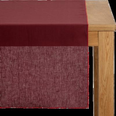 Chemin de table en lin et coton rouge sumac 50x150cm-MILA