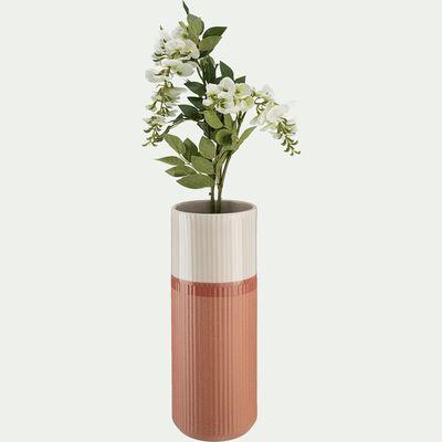 Vase strié en céramique rose H44 cm-Taza