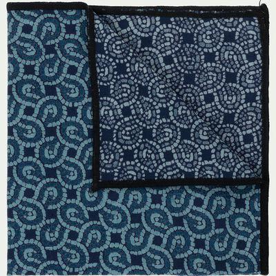 Serviettes de table en lin et coton bleu 41x41cm-MOSAIQUE