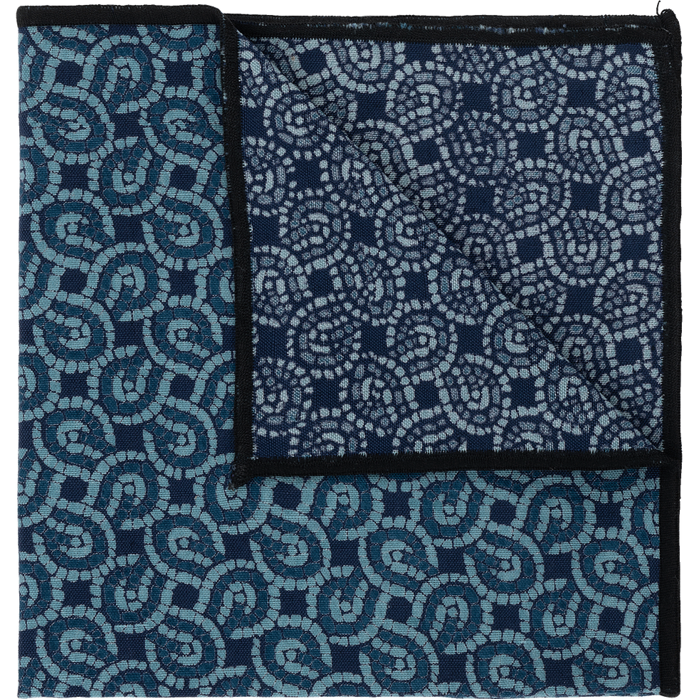 Serviettes de table en lin et coton bleu 41x41cm-MOSAIQUE
