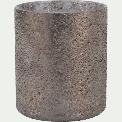 Photophore en verre gris D6,5xH8cm-PICHOTO