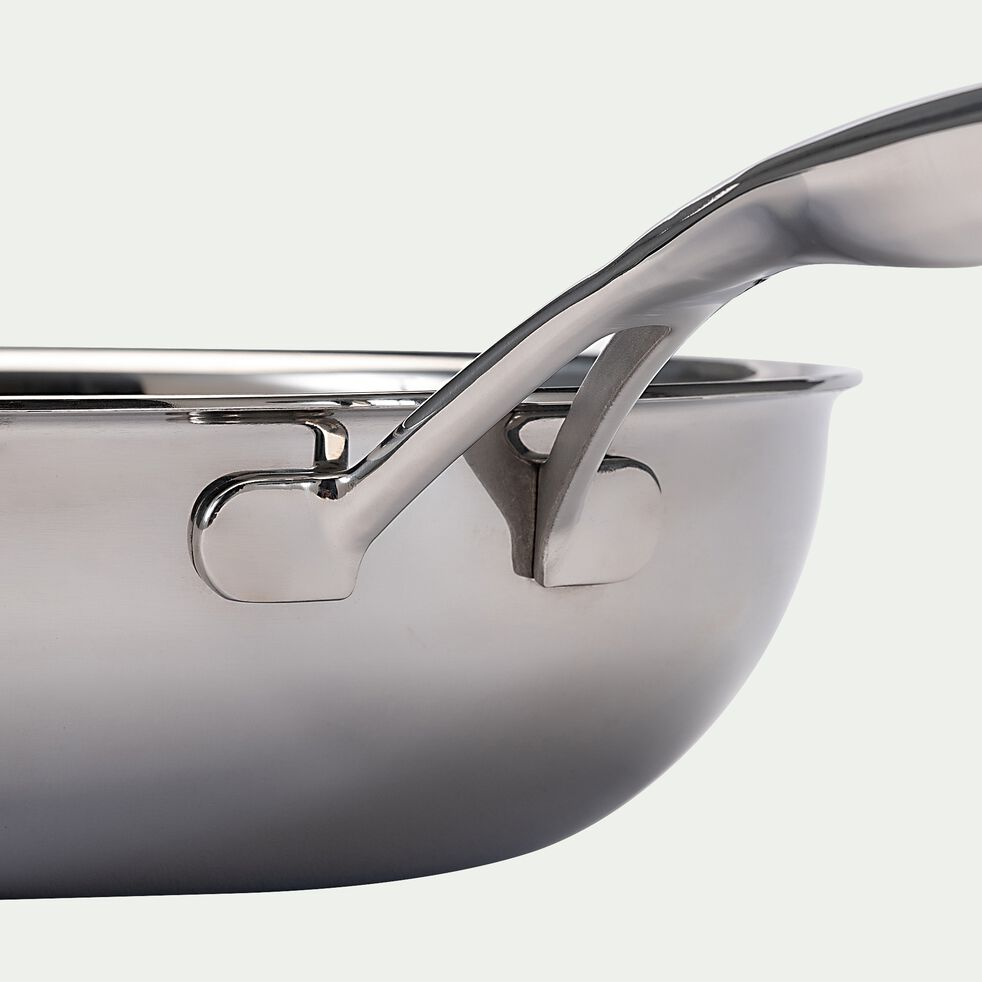 Wok en inox - gris métallisé D28cm-BLACK CUBE
