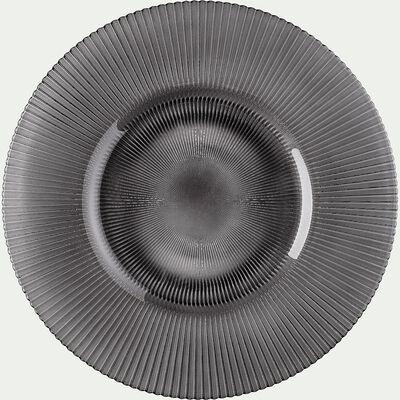 Assiette plate en verre strié gris D28cm-SPLENDIDE