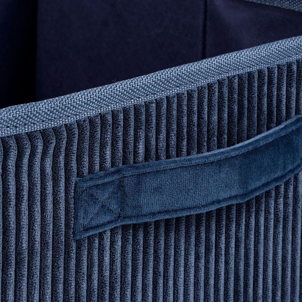 Panier de rangement en velours côtelé - bleu H12xL26cm-Vela
