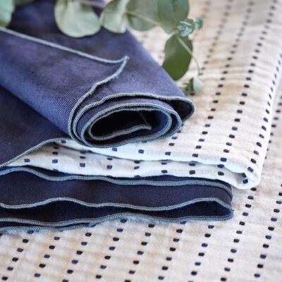 Chemin de table en coton à motifs bleu myrte 50x150cm-LEA