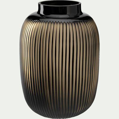 Vase en verre noir et doré H40cm-CALAMBA