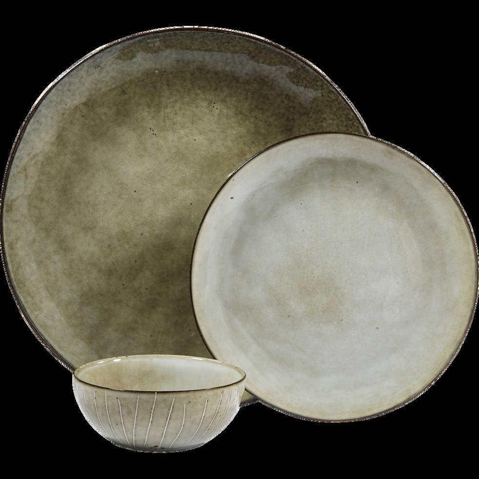 Assiette plate en grès vert D27.5cm-ARTISAN