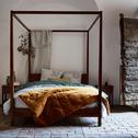 Lit 2 places avec baldaquins en acacia massif - 140x200 cm-THAO