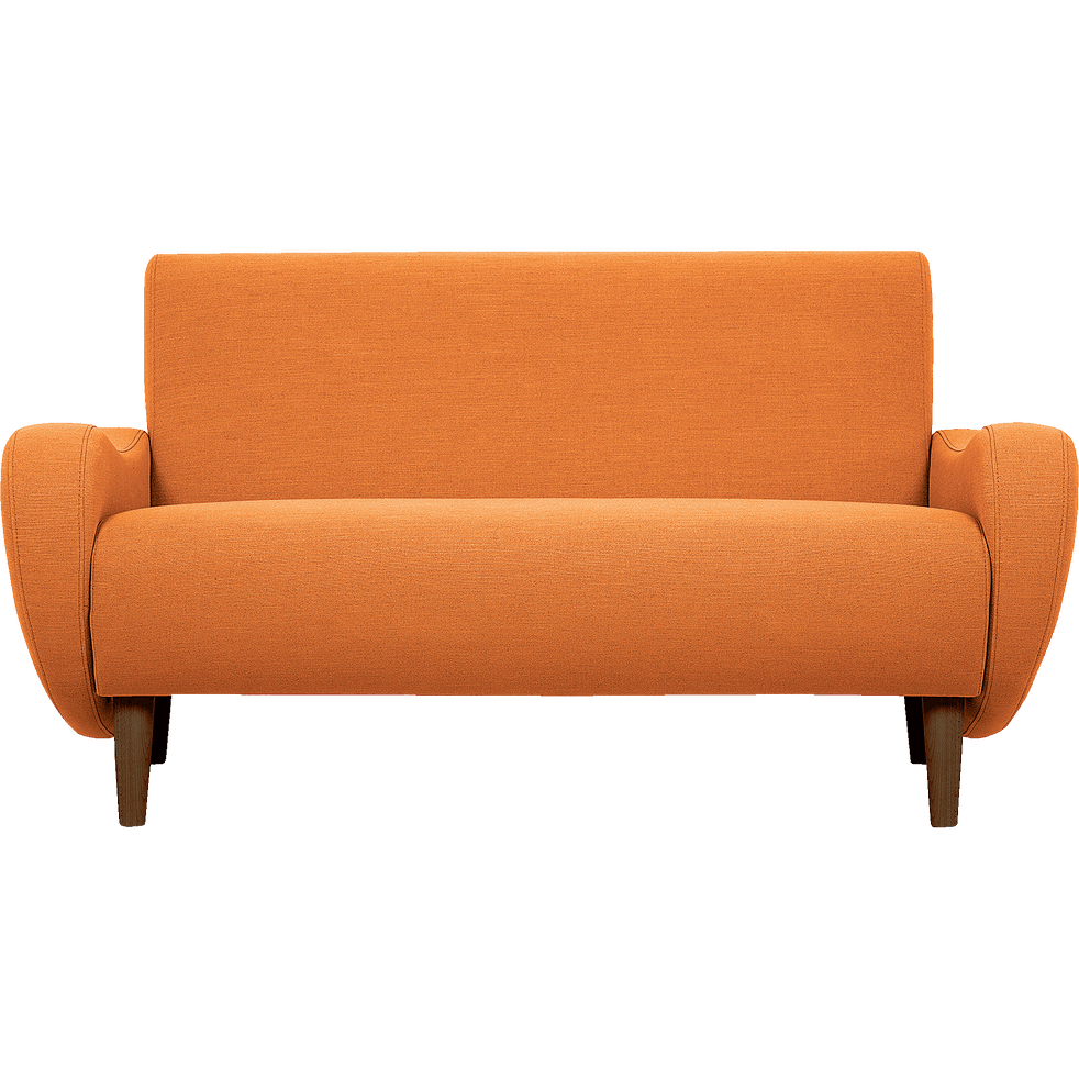 canap 2 places fixe r tro en tissu orange bean catalogue storefront alin a alinea. Black Bedroom Furniture Sets. Home Design Ideas