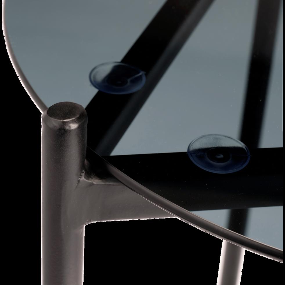 Bout de canapé rond en verre et en métal noir-AROU