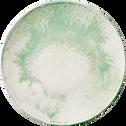 Assiette plate en faïence verte D27cm-PAOLA