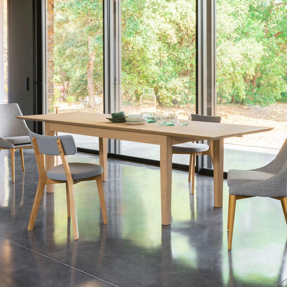 Chaise en tissu gris clair piètement bois-ABBY