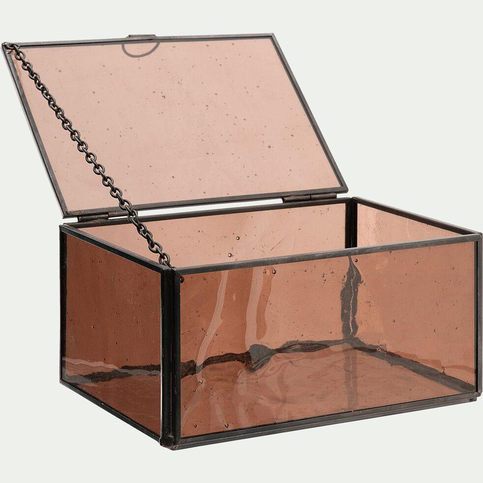 Boîte en verre et métal - marron L16,5xl11xH8cm-ATHENA