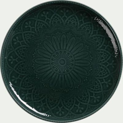Assiette plate en faience - D27cm vert-POUDHA