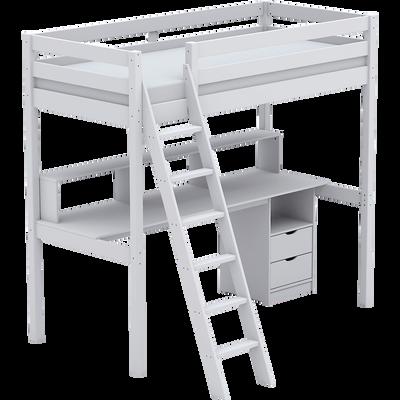 Lit mezzanine 1 place Blanc avec sommier - 90x200 cm-Alpin
