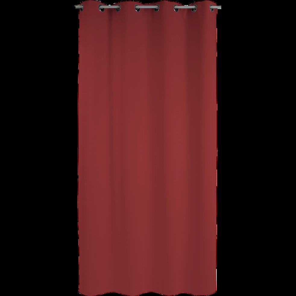 Rideau à œillets occultant rouge 140x260cm-STOP FEU