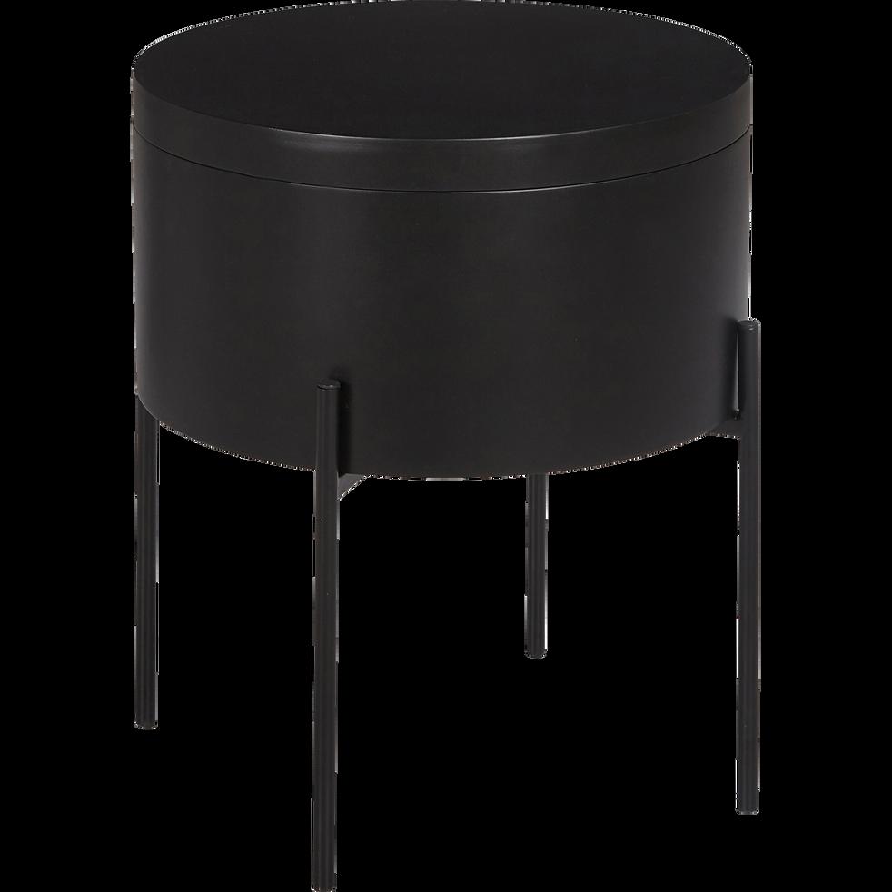 Bout de canapé noir avec coffre de rangement-DOUFINO