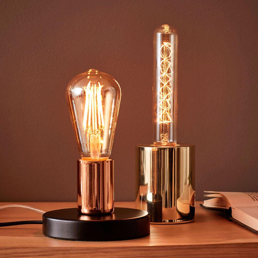 Lampe à poser en métal noir et cuivre H9cm-PAULA