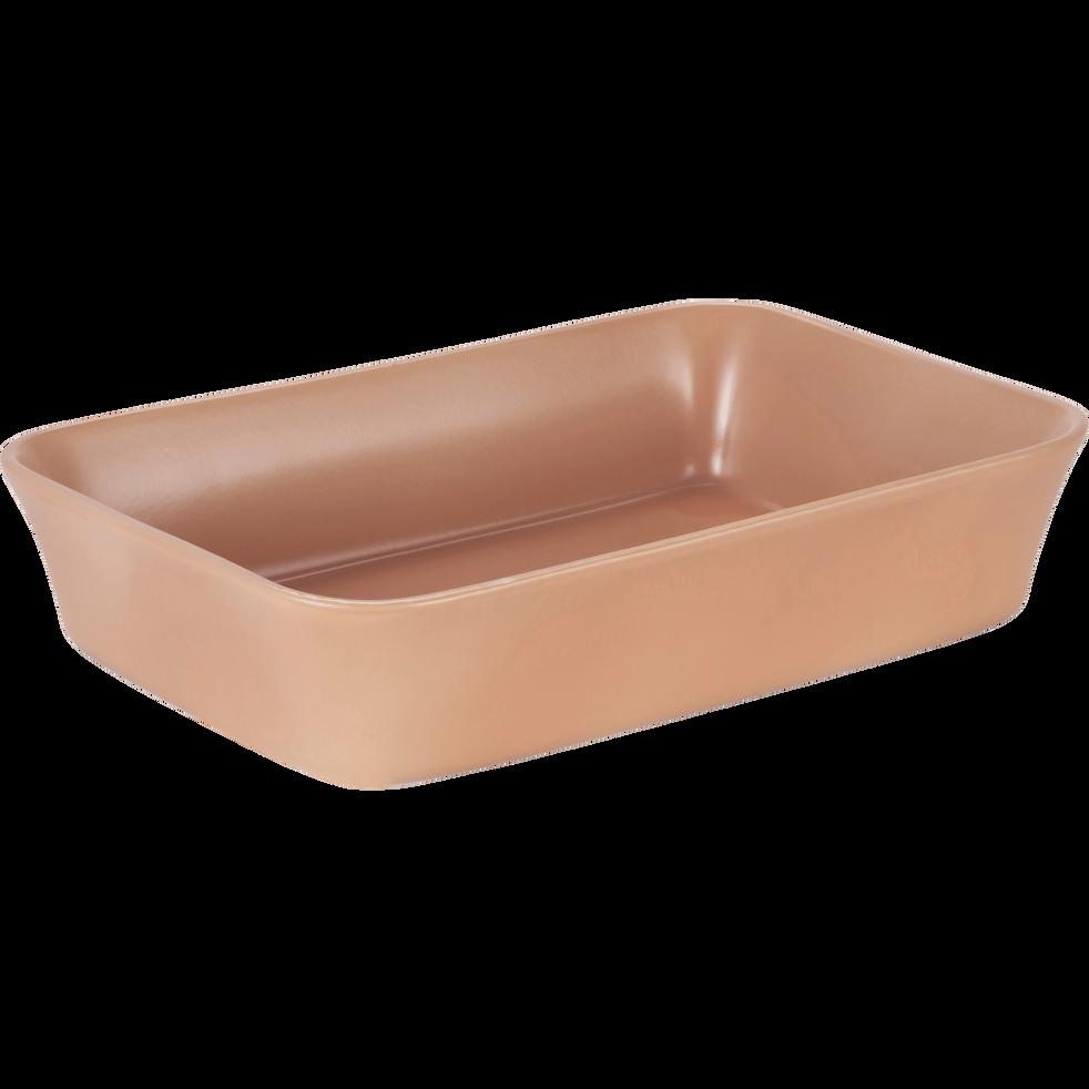 Plat à four rectangulaire en grès rose argile 26x18cm-ALVARA
