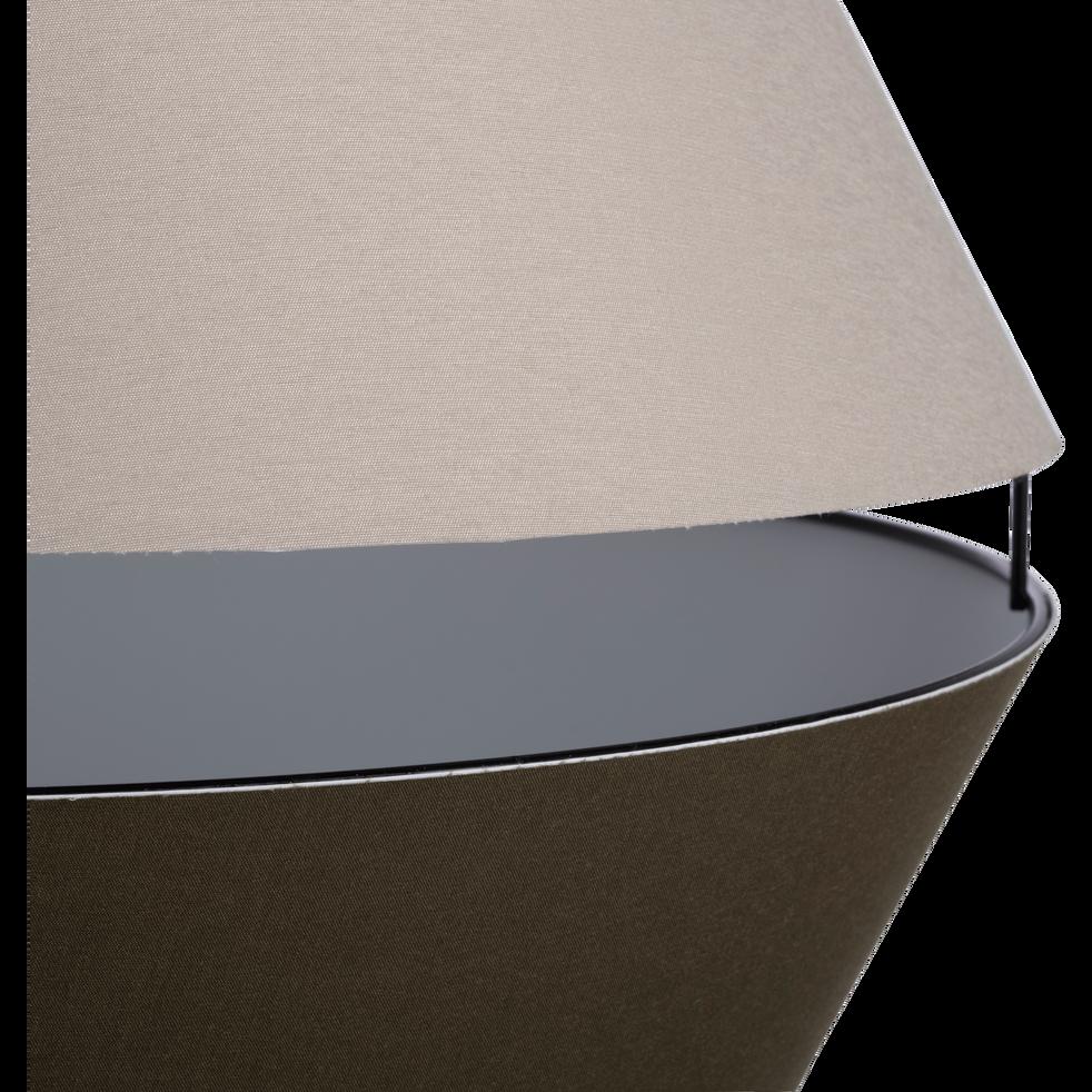 Abat-jour suspension en tissu vert olivier et vert cèdre D40cm-CARA
