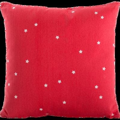 Coussin carré 40x40cm rouge motifs étoiles pour enfant-ELLIOT