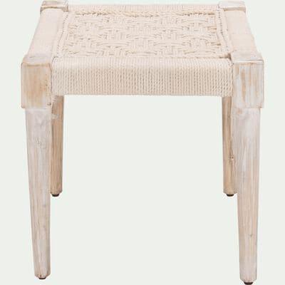 Pouf en bois carré - 40x40cm blanc capelan-AGNEL