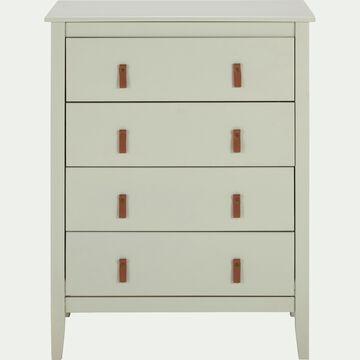 Commode en bois 4 tiroirs L76xl39xH100cm - vert olivier-LISA