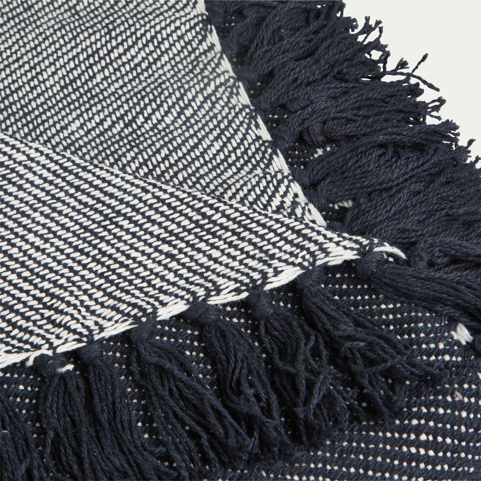 Plaid tissé à franges en coton - bleu 130x170cm-SEVILLE
