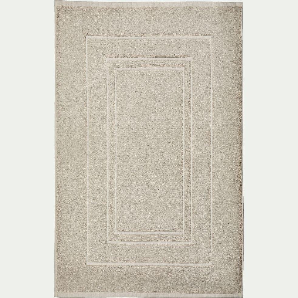 Tapis de bain en coton peigné - beige 50x80cm-AZUR
