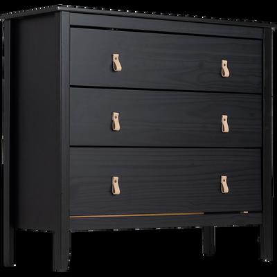 Commode 3 tiroirs pin massif noir-LISON