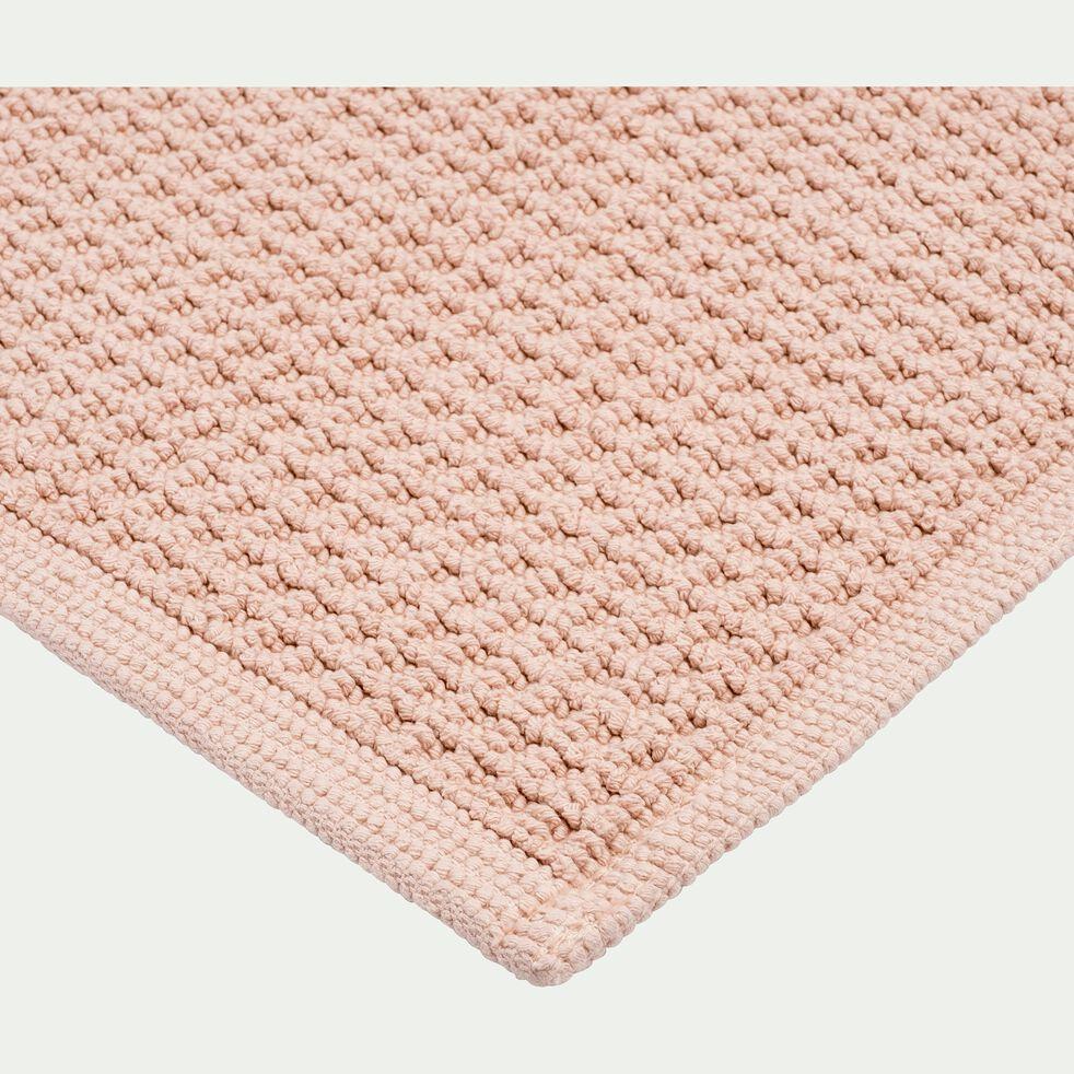 Tapis de bain tissé plat en coton - rose argile 60x100cm-ESCAPADE