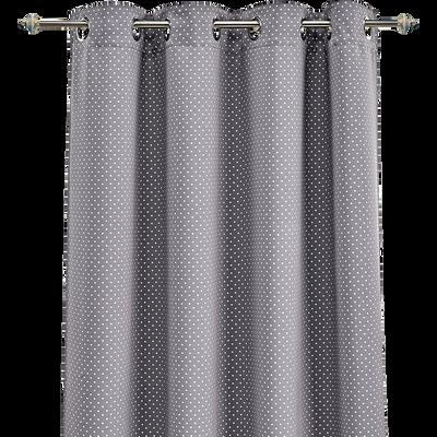 Rideau occultant gris motifs pois blancs 140x240cm pour enfant-POIS