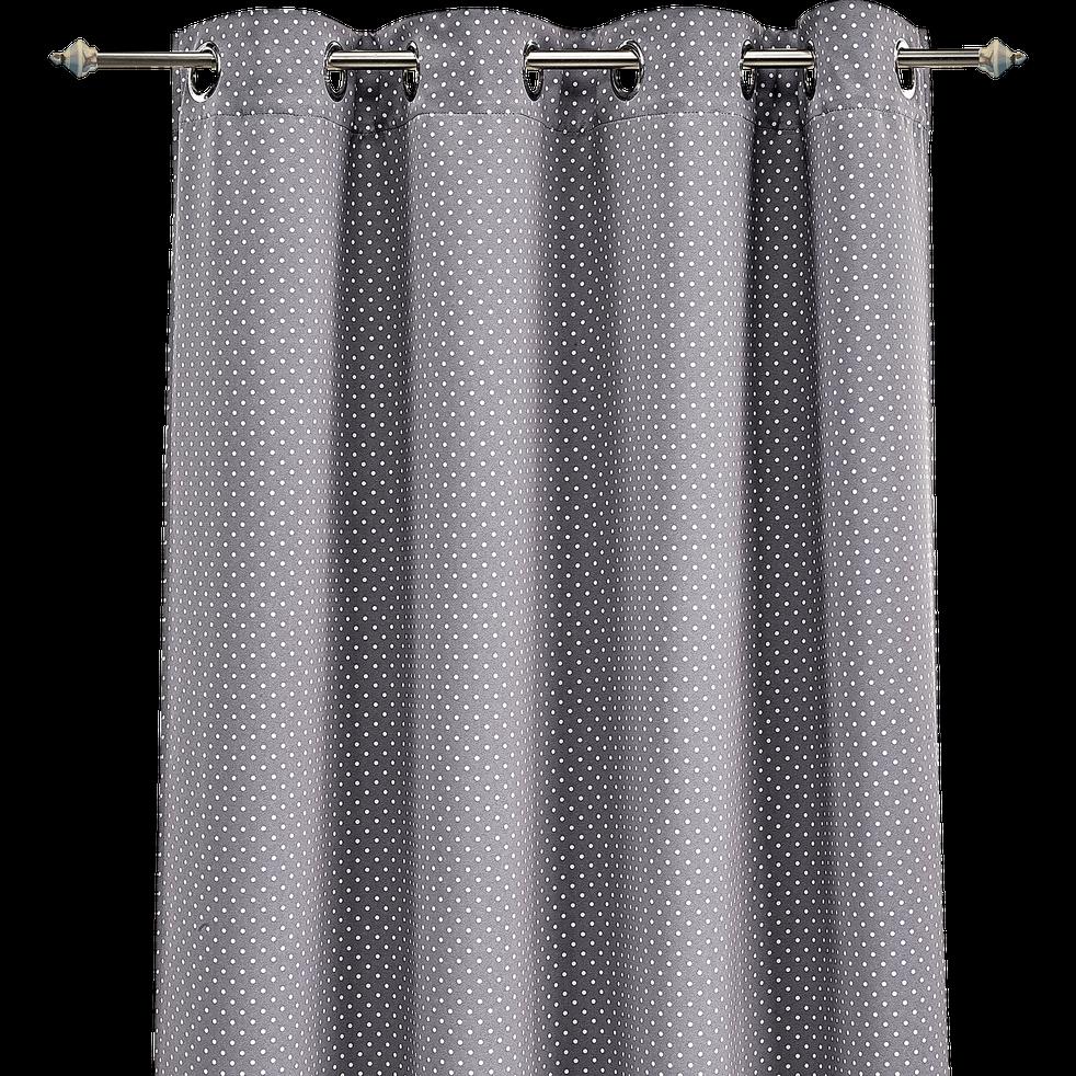 Rideau occultant gris motifs pois blancs 140x240cm pour enfant pois rideaux alinea for Petit rideau gris